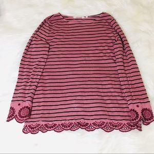 Soft Surroundings Mauve Stripe Lace Detail Blouse!